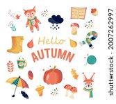 Autumn Set With A Fox  A...