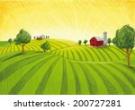 agriculture,and,backgrounds,barn,doodle,drawing,dusk,farm,field,gold,green,horizon,house,illustration,landscape