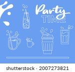 milkshake party. milk splashes...   Shutterstock .eps vector #2007273821