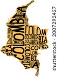 colombia map typographic map...   Shutterstock . vector #2007292427