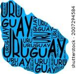 uruguay map typographic map...   Shutterstock . vector #2007294584