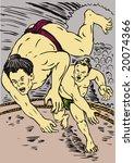 sumo wrestler getting thrown... | Shutterstock . vector #20074366