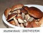 Mushrooms In A White Bowl Close ...