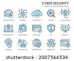 cyber security icons  such as... | Shutterstock .eps vector #2007566534