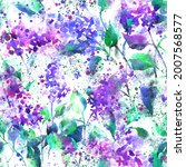 watercolor floral seamless... | Shutterstock . vector #2007568577