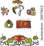 Vegetative element of design. Set flower ornament
