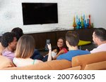 group of friends sitting on... | Shutterstock . vector #200760305