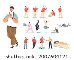 set of teenager guy in... | Shutterstock .eps vector #2007604121