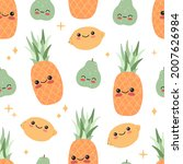 funny cute baby fruits with... | Shutterstock .eps vector #2007626984