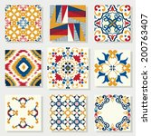 collection of 9 ceramic tiles ... | Shutterstock .eps vector #200763407