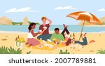 friends people on beach picnic... | Shutterstock .eps vector #2007789881