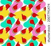 vector watermelon background...   Shutterstock .eps vector #2007791474