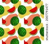 vector watermelon background...   Shutterstock .eps vector #2007791477