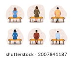 different thoughtful people sit ... | Shutterstock .eps vector #2007841187