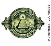 dollar  great seal  pyramid eye | Shutterstock . vector #200785391