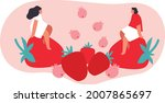 tiny people and berries cartoon ... | Shutterstock .eps vector #2007865697