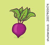 red beetroot with leaf icon... | Shutterstock .eps vector #2007905474