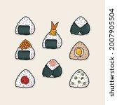 set of onigiri japanese rice... | Shutterstock .eps vector #2007905504