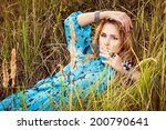 beautiful blond young woman in... | Shutterstock . vector #200790641