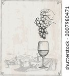 wine poster with empty space...   Shutterstock .eps vector #2007980471