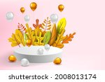 autumn leaves 3d yellow  red ... | Shutterstock .eps vector #2008013174