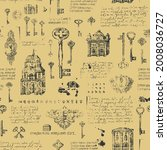 vintage seamless pattern with... | Shutterstock .eps vector #2008036727