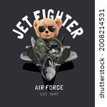 jet fighter slogan with bear... | Shutterstock .eps vector #2008214531