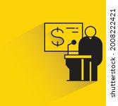 speaker on podium on yellow...   Shutterstock .eps vector #2008222421