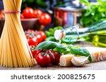 spaghetti tomatoes basil garlic ... | Shutterstock . vector #200825675