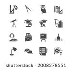 learning icon set and desk lamp ...