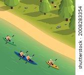 outdoor recreational canoeing... | Shutterstock .eps vector #2008283354