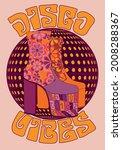 70s retro disco platform shoes... | Shutterstock .eps vector #2008288367