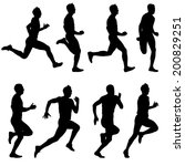 set of silhouettes. runners on... | Shutterstock .eps vector #200829251