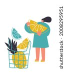 tiny people and fruits cartoon... | Shutterstock .eps vector #2008295951