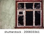 Smashed Glass Window With Old...