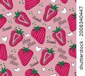 Hand Drawn Strawberry Seamless...