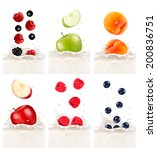 colorful fresh fruits falling... | Shutterstock .eps vector #200836751