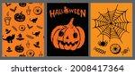 halloween symbols hand drawn...   Shutterstock .eps vector #2008417364