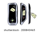 doodle mobile phone  sms   Shutterstock . vector #200843465