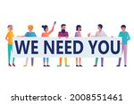 group of people holds a poster... | Shutterstock .eps vector #2008551461