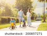happy family with little sons... | Shutterstock . vector #200857271