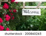 welcome text on wooden panel... | Shutterstock . vector #200860265