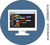 vector monitor with code editor  | Shutterstock .eps vector #200860574
