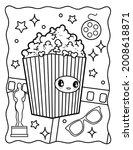 Kawaii Coloring Page. Popcorn....