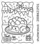Kawaii Coloring Page. Cute Cake ...
