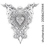 Ornamental Heart With Cherubs...
