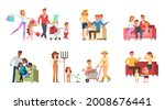 set of happy family people...   Shutterstock .eps vector #2008676441