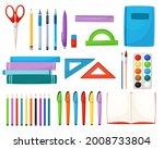 cartoon set of stationery items.... | Shutterstock .eps vector #2008733804