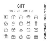 premium pack of gift line icons....