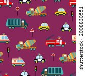 Seamless Pattern With Road Cars....